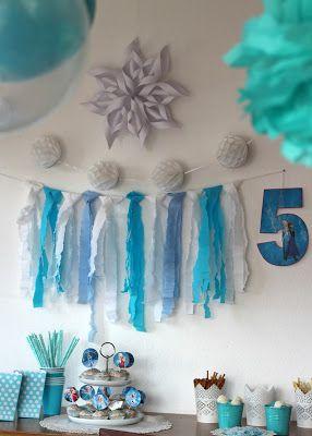 Deko und Sweettable bei der Elsaparty Frozenparty Elsa Frozen Party Kindergeburtstag