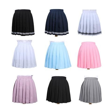 d2f9fc1cee6 Harajuku Women Pleated Skirt Plus Size 3XL Striped Cosplay Uniform Mini  Skirts High Waist Sweet Preppy College Skirt 2SK054