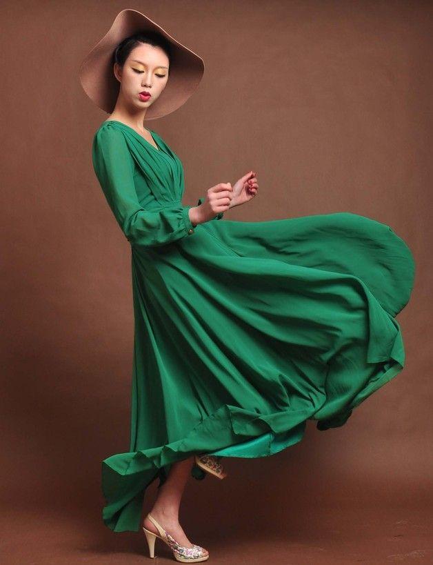 Robes longues, cercle mousseline de soie verte longue robe est une création orginale de chinese-dress sur DaWanda