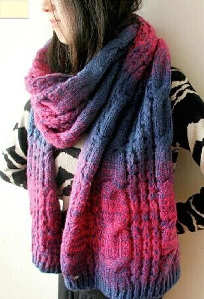 VISNXGI 2017 Cable Knit Scarves For Women 210*40 CM Gradient Colors Scarf Bufandas Wool Winter Thicken Wraps Femme Warmer Shawls