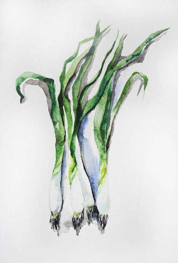 Original Watercolor Painting Green Onions Watercolor Watercolour