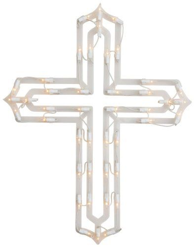 """Lighted Cross by Miles Kimball by Miles Kimball. $12.99. Illuminating your Easter season with hope and inspiration, our brilliant cross shines with 43 miniature white lights. Includes suction cup for adhering to window. UL listed for indoor/outdoor use. 20"""" long x 15 3/4"""" wide. 61"""" long cord."""