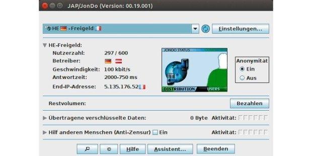Erst Jondo-Steuerprogramm starten, um die Verschleierung der IP-Adresse zu aktivieren.-Einen technisch vergleichbaren Ansatz wie das Tor-Netzwerk wählt Jondo, das in Deutschland entwickelt wurde ( https://www.anonym-surfen.de ). Die Datenpakete werden hier über eine Kaskade von Knoten weitergeleitet und auch dabei die IP-Adresse des Empfängers verschlüsselt. Um das Netzwerk gegen das Risiko zu schützen, dass sich Dritte mit zweifelhaften Motiven als Vermittlungsknoten betätigen, setzt Jondo…