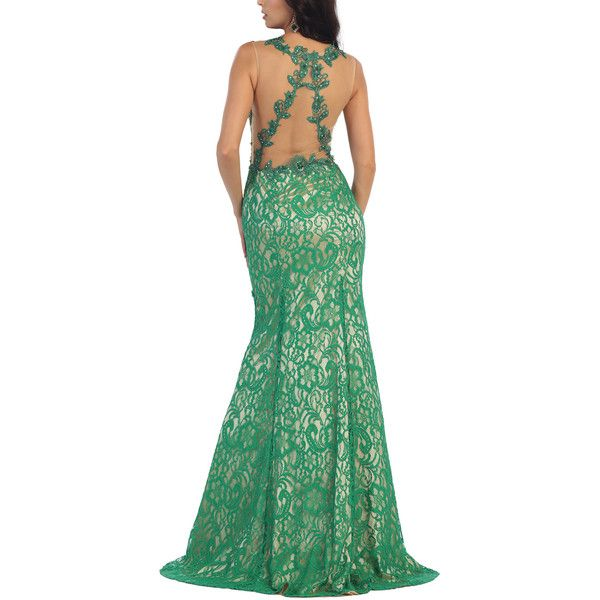 MayQueen Emerald Lace Overlay Sheer Back Gown ($115) ❤ liked on Polyvore featuring dresses, gowns, plus size, emerald green evening dress, long green dress, plus size long dresses, plus size evening dresses and plus size long evening dresses