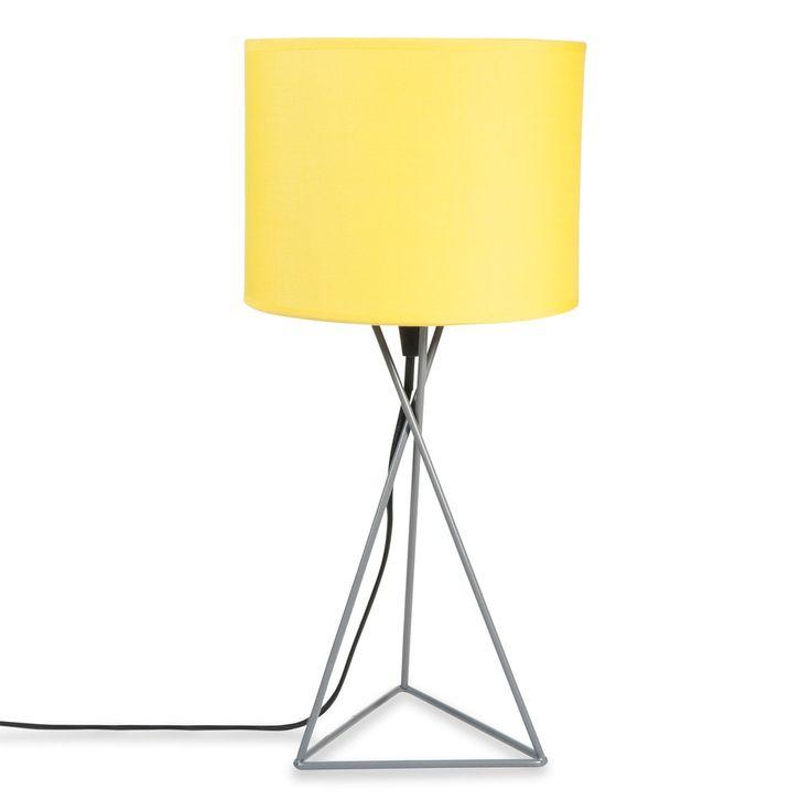 Lampada in metallo grigia e abat-jour giallo H 43 cm GARY