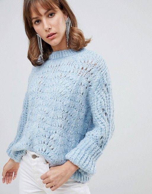 f725012bd4 River Island stitch sweater in light blue