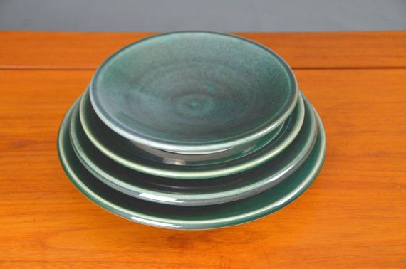 Green Ceramic Plate Set, Hand Thrown Porcelain Pottery, Dinner Plate, Salad Plate, Serving, Platter, Teal, Wedding Gift | Caldwell Pottery