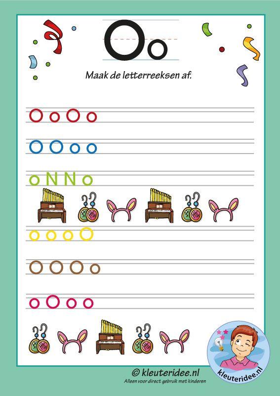 Pakket Over De Letter O Blad 14, Maak De Letterreeksen Af, Kleuteridee,  Free Printable Kindergarten Abc, Letters, Letter Worksheets