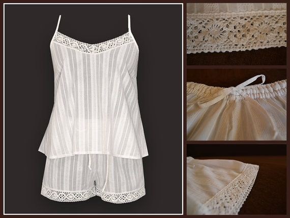 MildDream White Cotton Pajamas Set With Original Lace by MildDream
