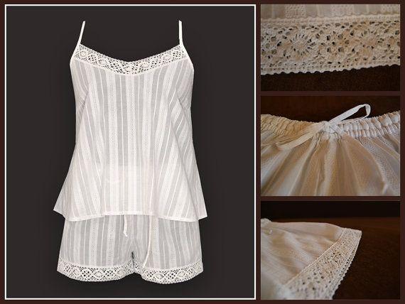 MildDream White Cotton Pajamas Set With Original Lace by MildDream