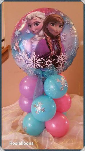 Balloon centerpiece frozen theme decor
