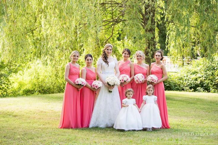 Our Monique Lhuillier bridesmaids radiant in their chiffon dresses  #weddinglibrarybridesmaids #moniquelhuillierbridesmaids
