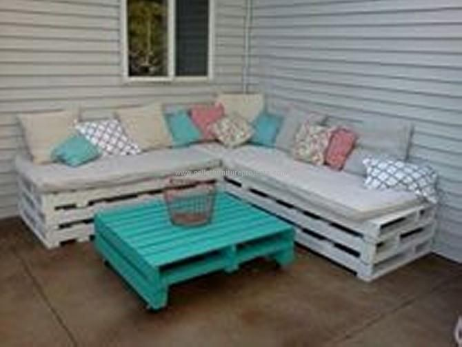 Pallet is something exceptionally great for re purposing or recycling. Once again here in this project the tall heighted sofa is made with the pallet, and the contrasting table is also made with the help of pallet wood. Decency and delicacy is taken best care of throughout the project. The small squared cushions are complimenting the entire setting. This is a patio sitting arrangement having the matching wall art that is also made of pallet planks. This is probably the best place for having…