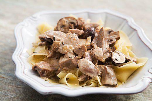 Turkey Stroganoff ~ Turkey Stroganoff recipe made with turkey leftovers, mushrooms, thyme and sour cream. ~ SimplyRecipes.com