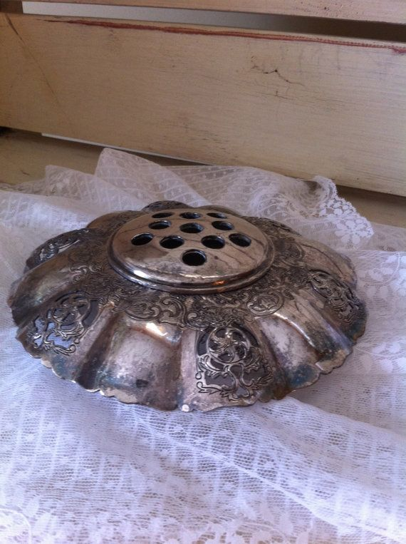 Vintage Silver Antique Vase/Flower Frog is available to be seen at 425 Market Place Antiques in Roswell, GA.