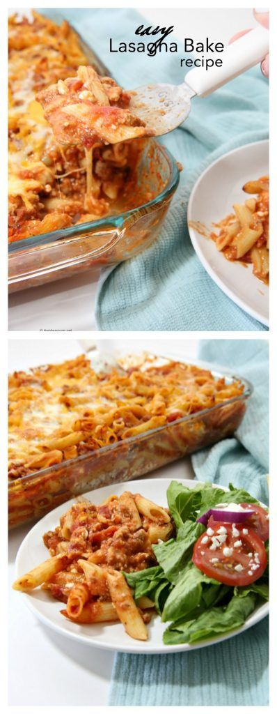Recipe Ideas| This Lasagna Bake with Penne Pasta is a simple recipe you can make in 30 minutes or less.