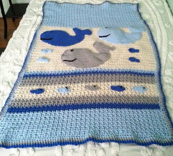 Baby Boy Whale And Fish Nautical Theme Blanket Afghan Made