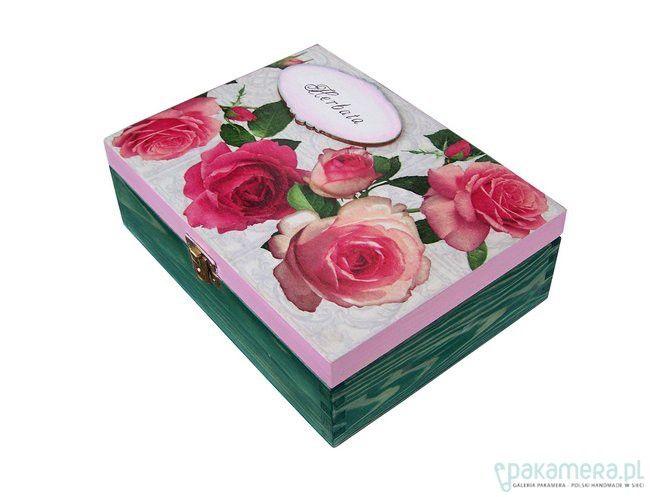 Pudełko na herbatę Herbaciane róże - decoupage - herbatnice ...