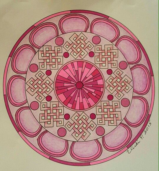 For October's breast cancer awareness.  pattern by Madonna Gauding,colored with pens and pencils by Vicki Patterson.