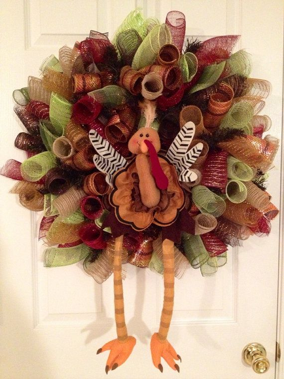 Curly Mesh Turkey Deco Mesh Wreath by CreativeTwists1 on Etsy, $59.00