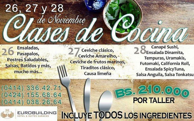 @chef.giovannialberto @GiovanniVENTAS  CLASES DE COCINA * Salón Costa Dorada, Hotel Eurobuilding, Caracas * 26, 27 y 28 de noviembre del 2017 Todos los ingredientes incluidos!  Contactanos y Reserva: * Telefono / Whatsapp: + 58 (424) 155.6864 * Twitter: @GiovanniVENTAS * Instagram: @chef.giovannialberto   #cocina #ensaladas #sushi #tempura #chef #ceviche #salsas #caracas #eurobuilding #navidad #salsas #batidos