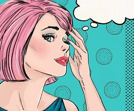 pic of vintage  - Pop Art illustration of surprised woman with the speech bubble - JPG