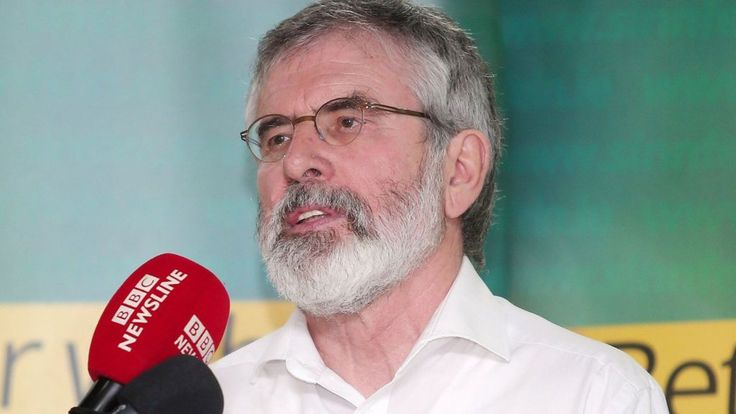 Gerry Adams signals that Deputy First Minister Martin McGuinness could resign if Arlene Foster does not stand aside during an investigation into a flawed green energy scheme.