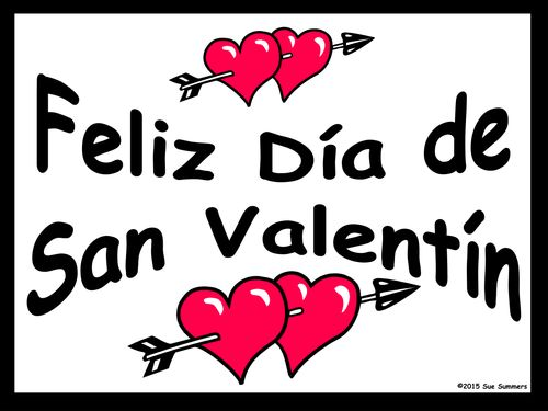 spanish valentines day 2 free classroom signs - San Valentines Day