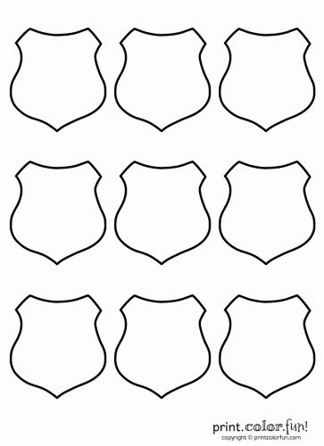 Shield Set 9 ; Badge Coloring : law enforcement, sheriff, police badge free printable coloring page. Appliqué template for DIY sewing craft.