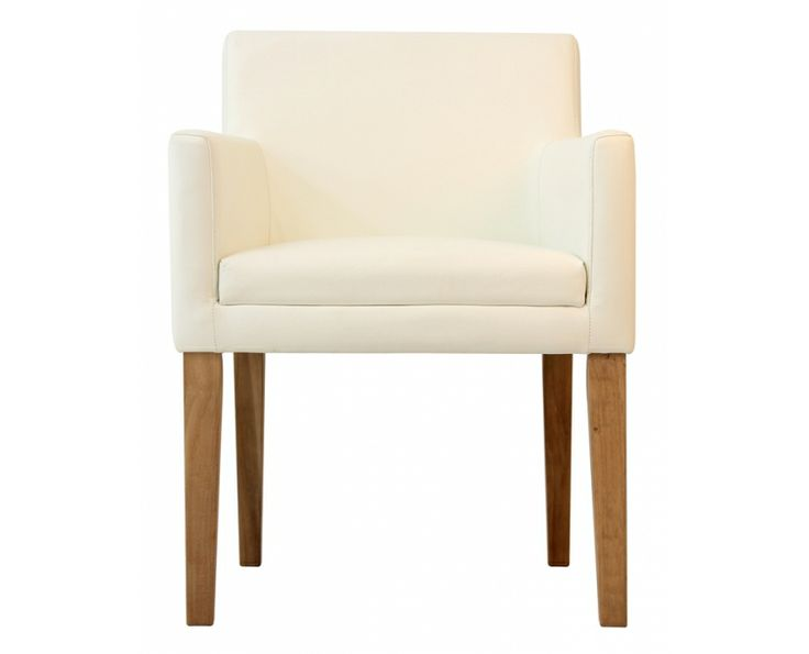 Rasusu Visitors Chair (White Leather, Teak Legs) IDD2995