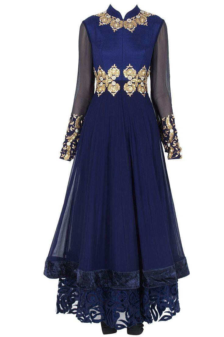 Indigo blue ornamental kalidaar kurta set available only at Pernia's Pop-Up Shop.