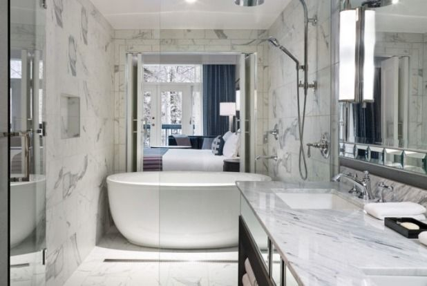 Hotel Talisa, Vail, Colorado Marble everything bathrooms at The Hotel Talisa.Photo: Supplied