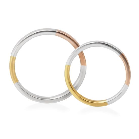 "Hatae jewelry ""Luke & Lara"" Pt900 Three color Marriage Ring - Wedding Band"