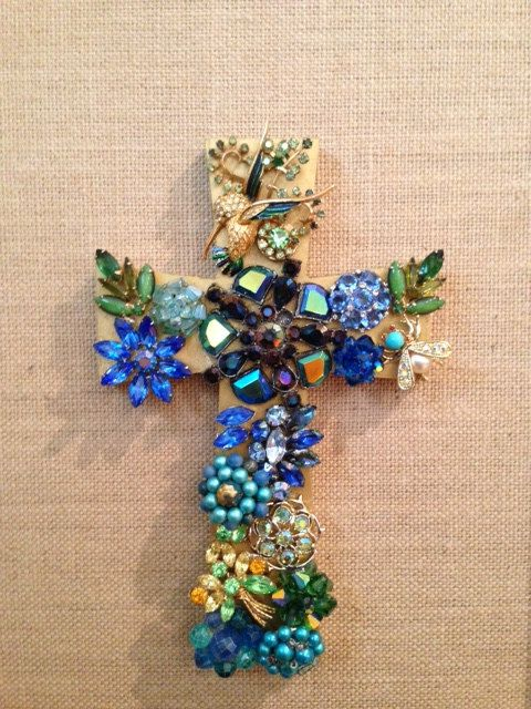 Vintage jewelry cross by ginjoh on Etsy, $155.00 The cute hummingbird and custom gold frame make this one a stunning beauty.