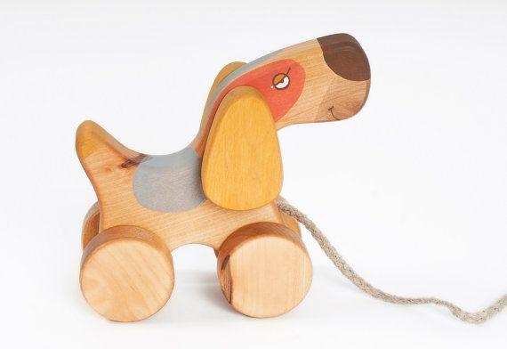 Arbolado tire de juguete juguetes de madera para el niño