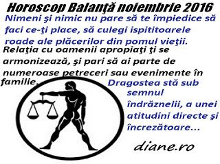 diane.ro: Horoscop Balanţă noiembrie 2016