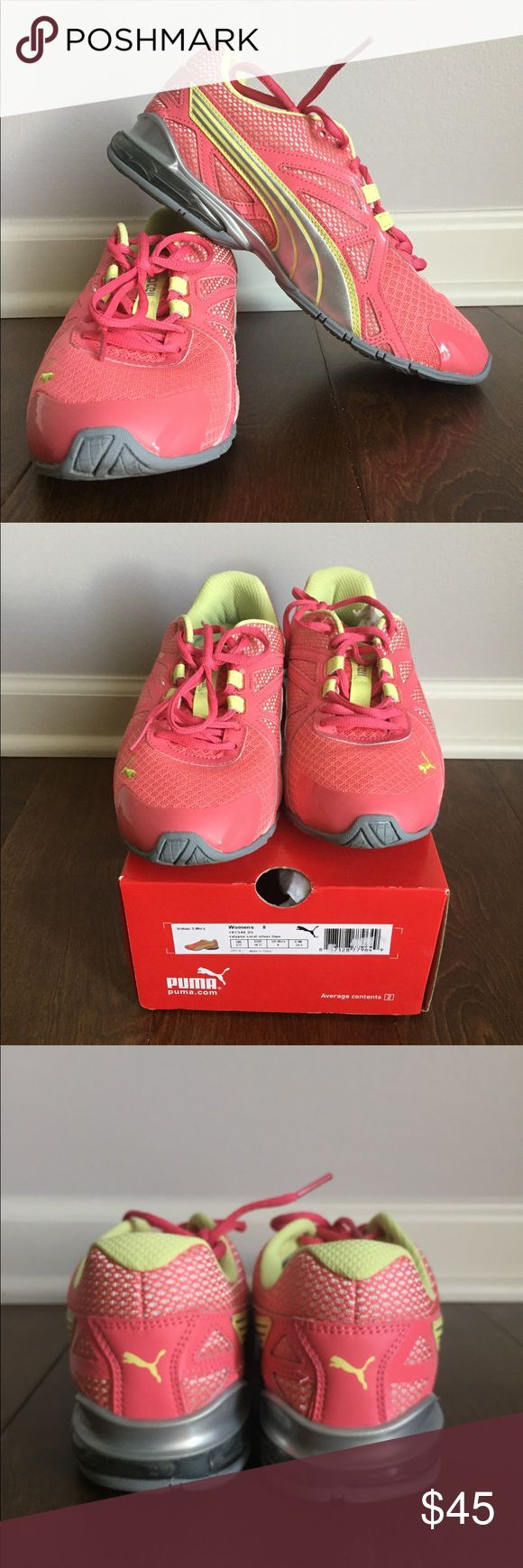 Puma running shoes Excellent puma calypso running shoe!  Still in the box. Worn outside once on a walk. No signs of wear. Size 8. Coral all over color with silver and lime accents. Puma Shoes Athletic Shoes