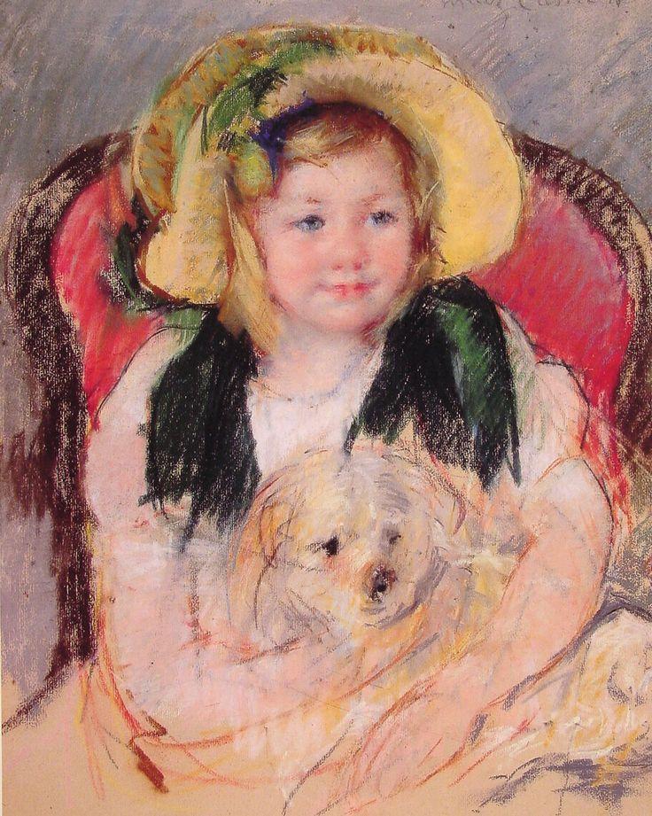 Mary Cassatt Paintings   Sara with her dog - Mary Cassatt - WikiPaintings.org