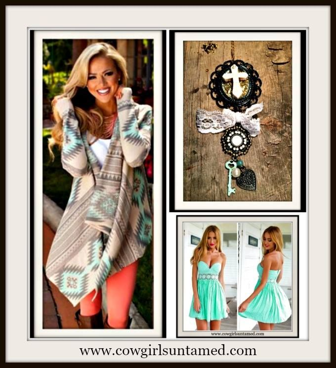 Get the Look Only at COWGIRLS UNTAMED! Mint & grey Aztec Open Cardigan, Handmade Ivory Turquoise Cross Charm Necklace, Mint Strapless Lace Mini Dress #boho #gypsy #cowgirl #strapless #sexy #lace #minidress #summer #mint #green #dress #jewelry #necklace #cameo #equine #cross #heart #handmade #charm #belt #beautiful #antiquebronze #boutique #fashion #western #sweater #cardigan #aztec #tribal #ethnic #asymetrical