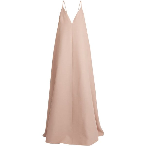 Valentino Deep V-neck wool and silk-blend gown found on Polyvore featuring dresses, gowns, long dresses, valentino, vestido, light pink, light pink gown, light pink ball gown, v neck gown and low v neck dress
