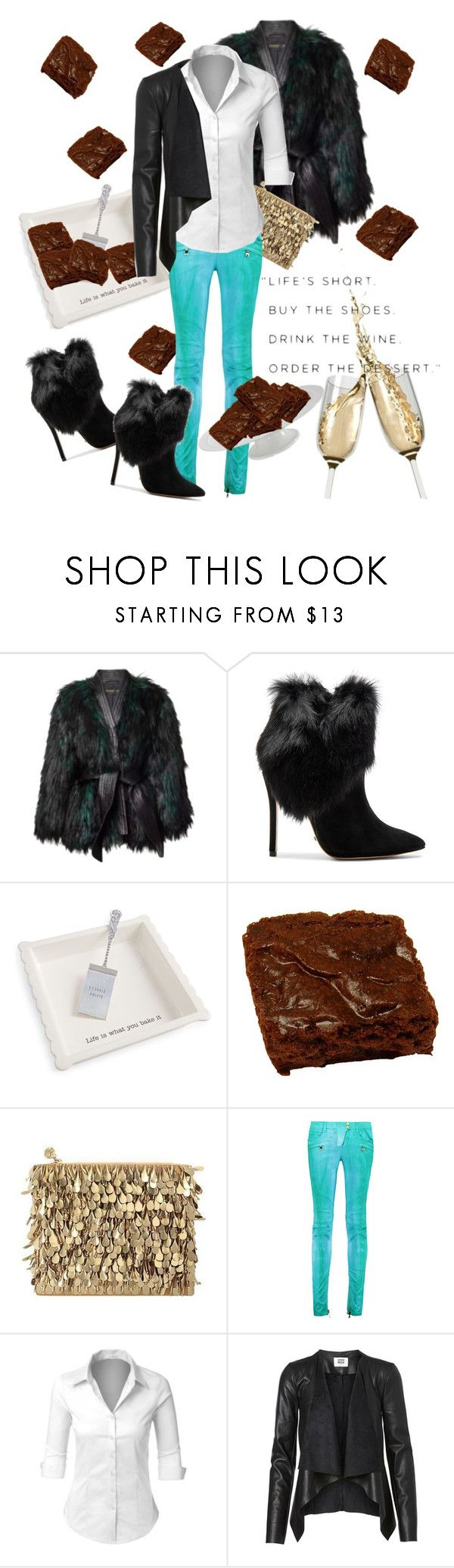 """""""Define """"Dessert"""""""" by april-wilson-nolen ❤ liked on Polyvore featuring Balmain, Schutz, Mud Pie, Forest of Chintz, LE3NO and Home Decorators Collection"""