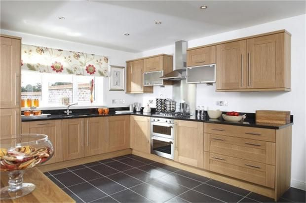 www.haleofherts.com  Cool Kitchen - slate floor - beech units - white walls