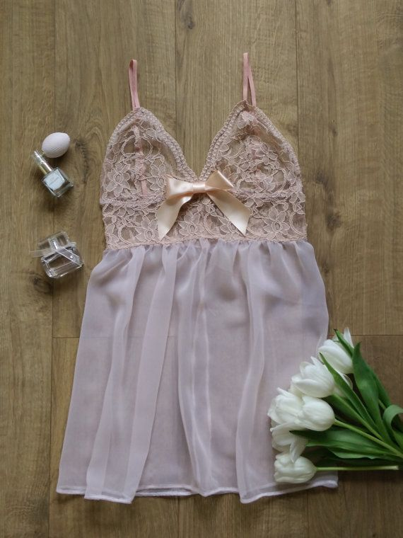 Pink lace babydoll Lingerie Underwear by FanniLucaPoti on Etsy