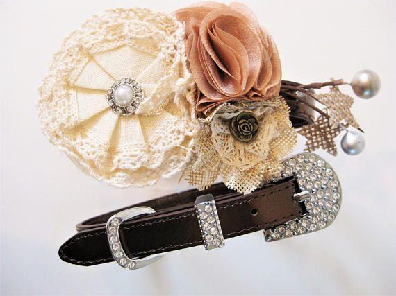 Flower Dog collar   The Lucinda   Rustic Wedding or Vintage Wedding   Dog flower girl   Wedding Dog Collar   XS S M L