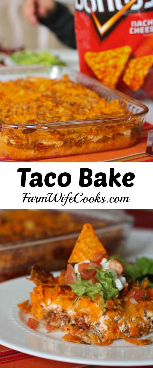 Dorito Taco Bake recipe from The Farm Wife Cooks. This sounds AWESOME! My family would tear this up. Might be good with Cool Ranch Doritos too!! This will be dinner this weekend! #meal