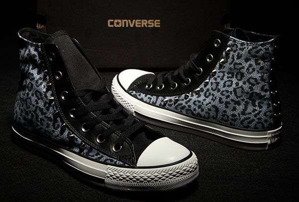 a3fc6c1bf88c Converse Rivets Studded Leopard Print Leather Edge Blue Black Chuck Taylor  All Star Sneakers  converse  shoes