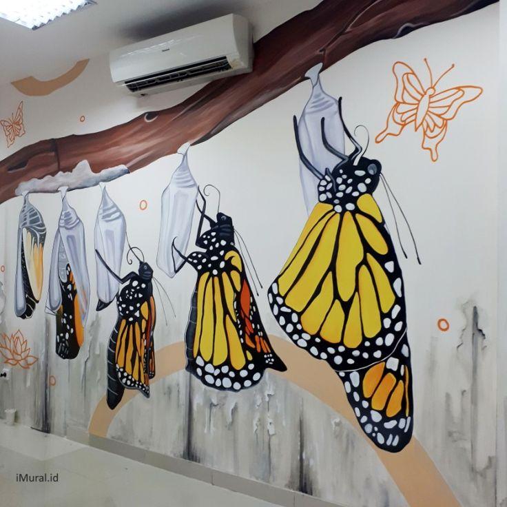 mural, jasa mural, jasa lukis dinding, mural kupu-kupu, mural metamorfosis, mural kantor, jasa mural kantor-Desain by iMural