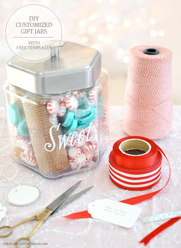 DIY Customized Gift Jars with Free Templates | Featuring 4 different gift jars to please almost anyone