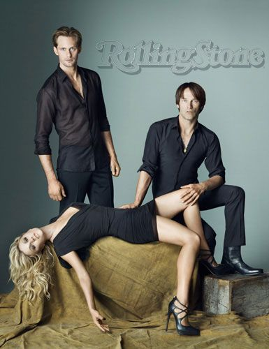 "Alexander Skarsgard, Anna Paquin, and Stephen Moyer photographed by Matthew Rolston in a photo shoot for ""Rolling Stone"" magazine sept 2010......."