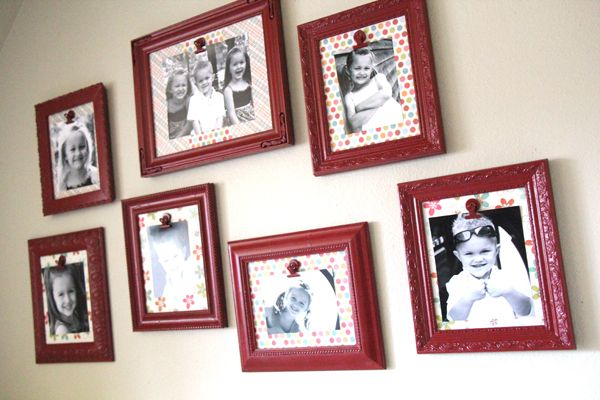 Use scrapbook paper as your background matting and a clip so you can switch out
